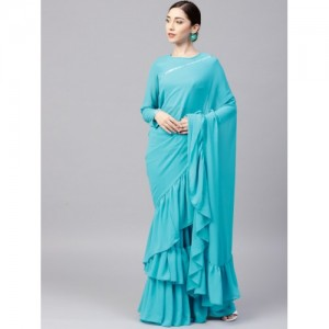 Inddus Turquoise Blue Georgette Solid Ruffled Saree