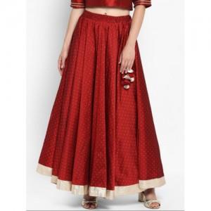 Varanga Maroon Slik  Embellished Flared Skirt
