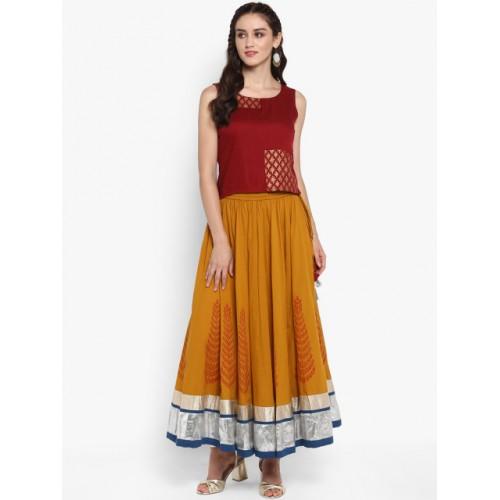 Varanga Mustard Cotton Printed Flared Skirt