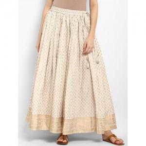 Varanga Off White Cotton Printed Maxi Skirt