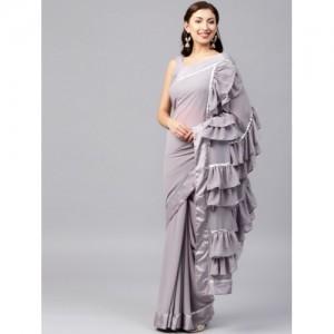 Inddus Lavender Georgette Solid Ruffled Saree