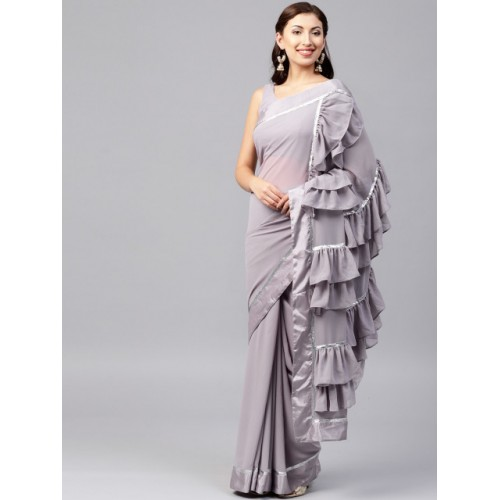 Inddus Lavender Georgette Solid Ruffled Saree