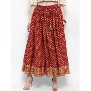 Varanga Maroon Cotton Printed Flared Maxi Skirt