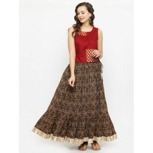 Varanga Multi Colour Cotton Kalamkari Printed Skirt