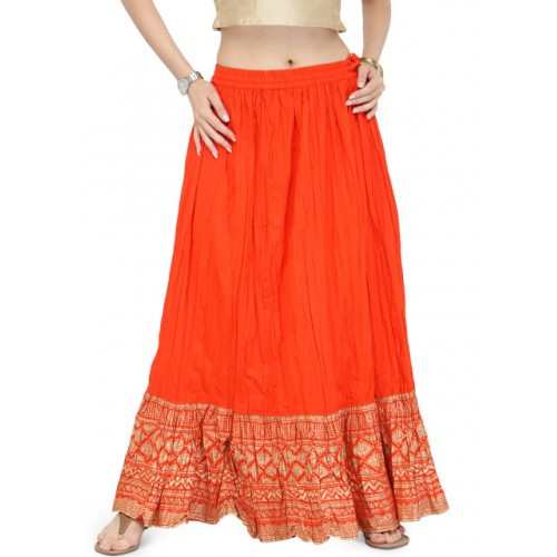 Varanga Orange Pure Cotton Gold Skirt