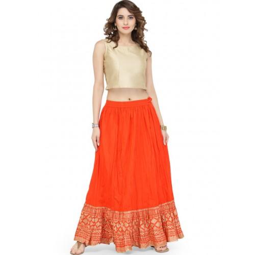 Varanga Orange Pure Cotton Gold Skirt