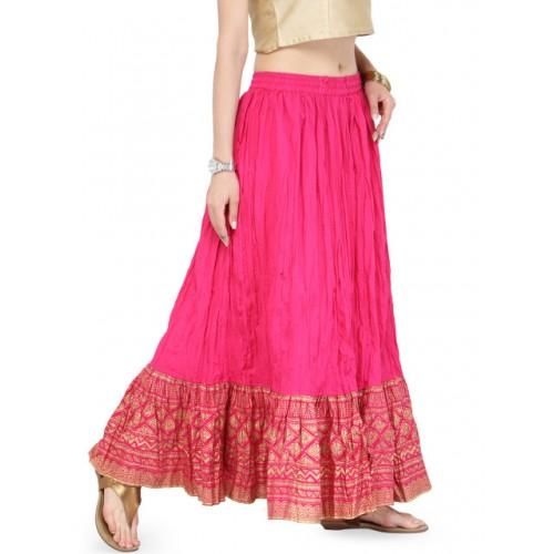 Varanga Pink Cotton Flared Maxi Skirt