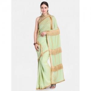 Colors Green Poly Crepe Woven Design Satin Saree