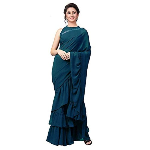 Magneitta Blue Georgette Solid Ruffle Saree