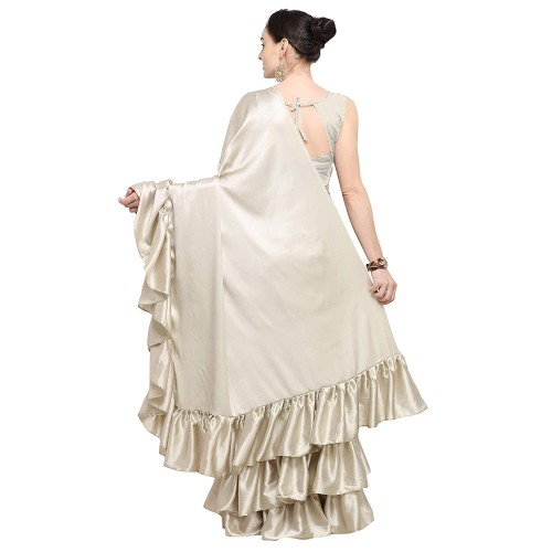 Womanista Beige Synthetic Ruffle Saree with Blouse Piece