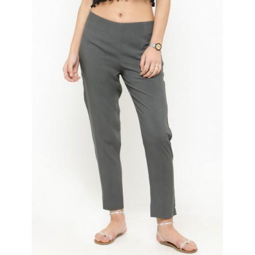 Varanga Grey Viscose Straight Fit Solid Regular Trousers