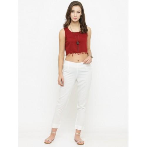 Varanga White Rayon Straight Fit Solid Regular Trousers