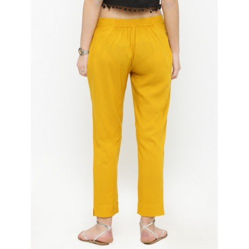 Varanga Mustard Viscose Solid Regular Fit Trousers