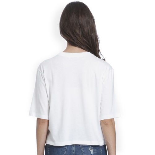 ONLY Only Women White Printed Round Neck T-shirt