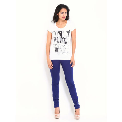 ONLY Women White Play Printed T-shirt