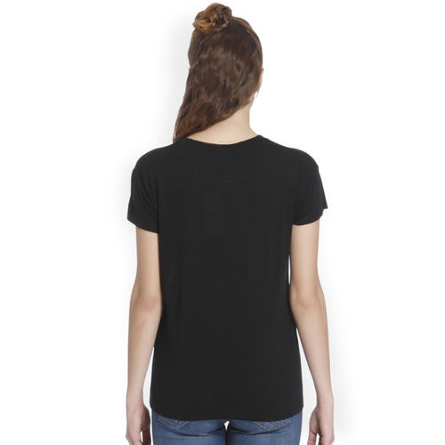 ONLY Only Women Black Printed Round Neck T-shirt