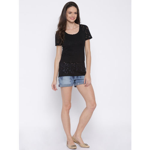 ONLY Black Semi-Sheer T-shirt