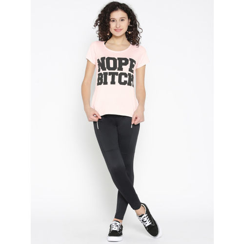 ONLY Women Pink Printed Round Neck T-shirt