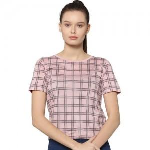 Only Checkered Women Round Neck Pink T-Shirt