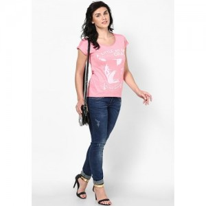 Only Printed Women's Round Neck Pink T-Shirt