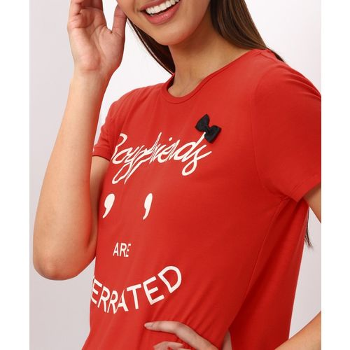 Only Printed Women Round Neck Red T-Shirt