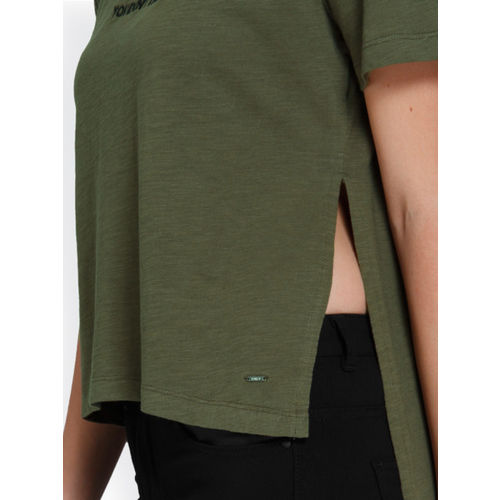 ONLY  Olive Green Self Design Round Neck T-shirt