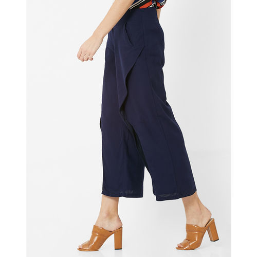 FABALLEY Cropped Slit-Front Palazzo Pants
