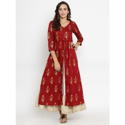 bfd5513b0d Buy Varanga Women Maroon & Off-White Printed Kurta with Skirt online ...