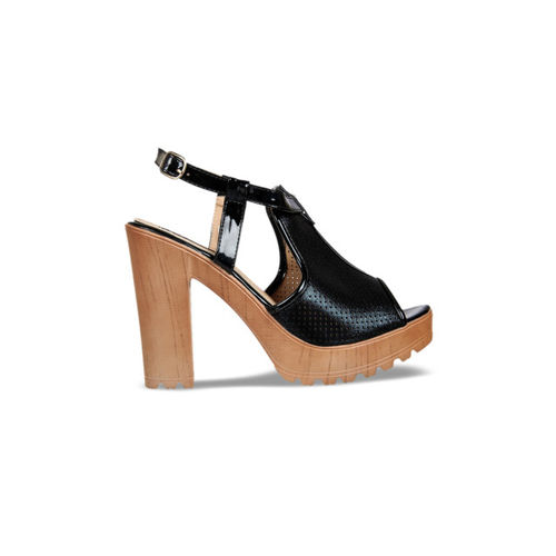 Flat n Heels Women Black Solid Sandals
