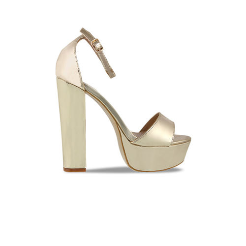 Flat n Heels Women Gold-Toned Solid Sandals