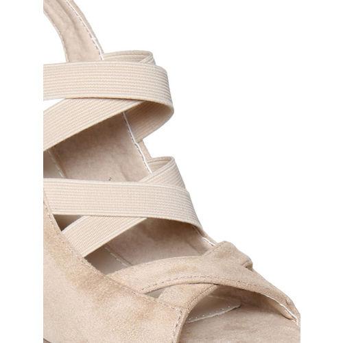 Flat n Heels Women Beige Suede Solid Sandals