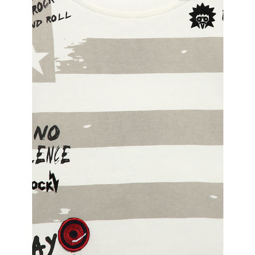 Gini and Jony Boys White & Grey Striped Round Neck T-shirt