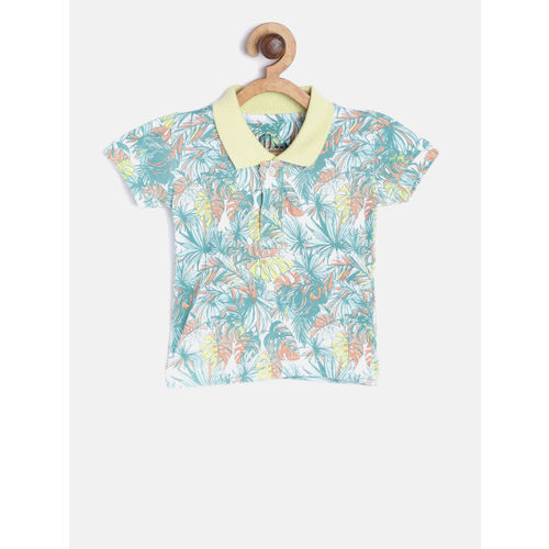 Gini and Jony Boys White & Sea Green Printed Polo Collar T-shirt
