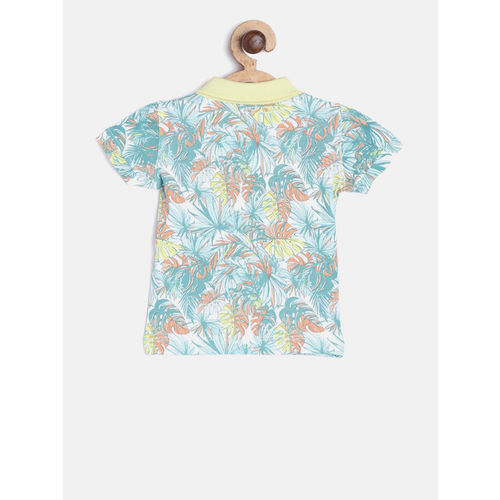 Gini and Jony Boys White & Sea Green Printed Polo Collar T-shirt