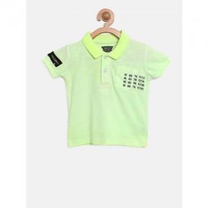 Gini and Jony Boys Green Solid Applique Polo Collar T-shirt