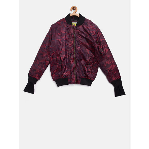 Gini and Jony Boys Burgundy Printed Bomber Jacket