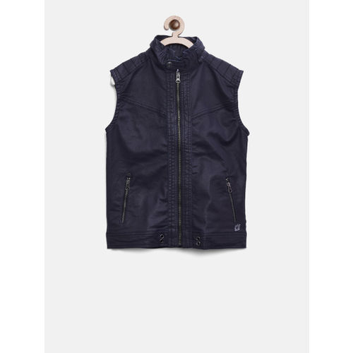 Gini and Jony Boys Blue Solid Open Front Jacket