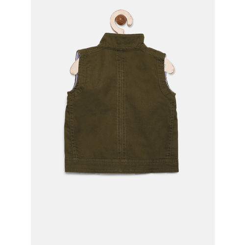 Gini and Jony Palm Tree Boys Olive Green Solid Tailored Jacket