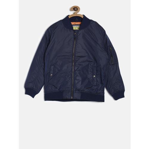 Gini and Jony Boys Navy Blue Solid Bomber Jacket