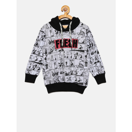 Gini and Jony Boys White & Black Printed Hooded Sweatshirt