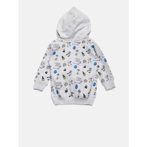 Gini and Jony Boys Grey Melange Printed Hooded Sweatshirt