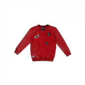 Gini and Jony Boys Red Self-Design Sweatshirt