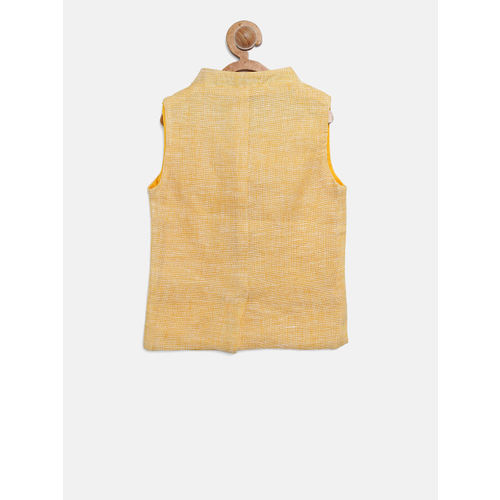 Gini and Jony Boys Yellow Solid Nehru Jacket
