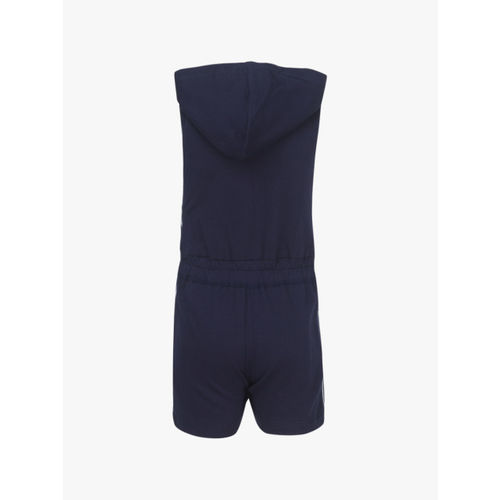 Gini and Jony Girls Navy Solid Hooded Playsuit