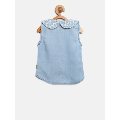 Gini and Jony Girls Chambray Blue Regular Fit Solid Casual Shirt