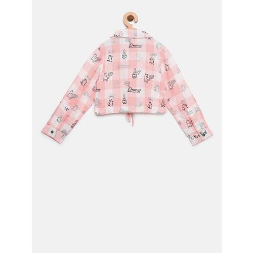 Gini and Jony Girls Pink & White Checked Casual Shirt
