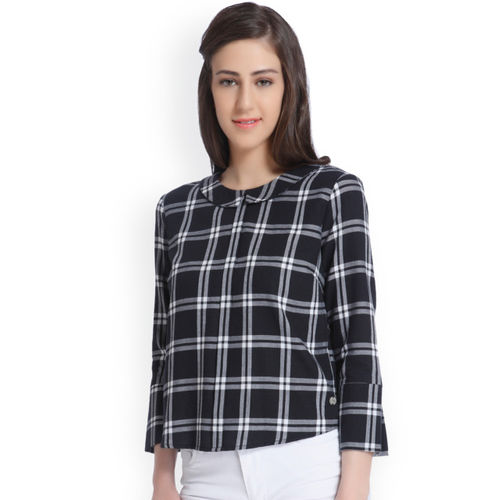 ONLY Women Black & White Checked Style Back Top