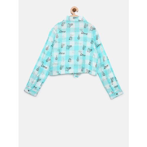 Gini and Jony Girls Blue & White Checked Casual Shirt