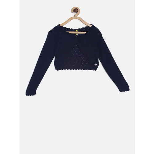 Gini and Jony Navy Blue Solid Button Shrug