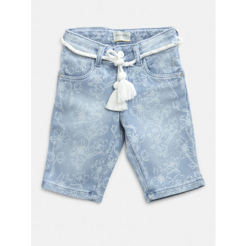 Gini and Jony Girls Blue Washed & Printed Regular Fit Denim Shorts